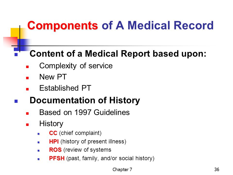 Chapter 736 Components Components of A Medical Record Content of a Medical Report based upon: Complexity of service New PT Established PT Documentation of History Based on 1997 Guidelines History CC CC (chief complaint) HPI HPI (history of present illness) ROS ROS (review of systems PFSH PFSH (past, family, and/or social history)