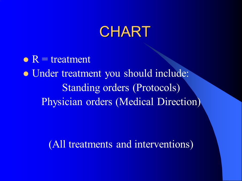 CHART A = assessment Under assessment you should include: Vital signs General impression Physical exam Diagnostic tests