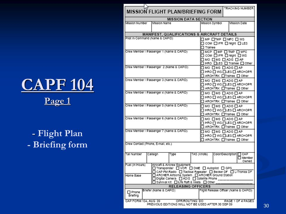 30 CAPF 104 Page 1 - CAPF 104 Page 1 - Flight Plan - Briefing form
