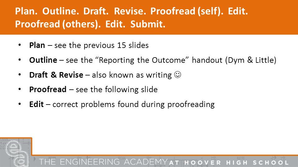 Plan. Outline. Draft. Revise. Proofread (self).