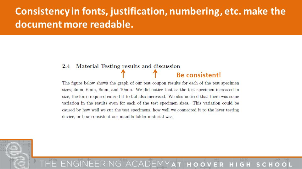 Consistency in fonts, justification, numbering, etc.