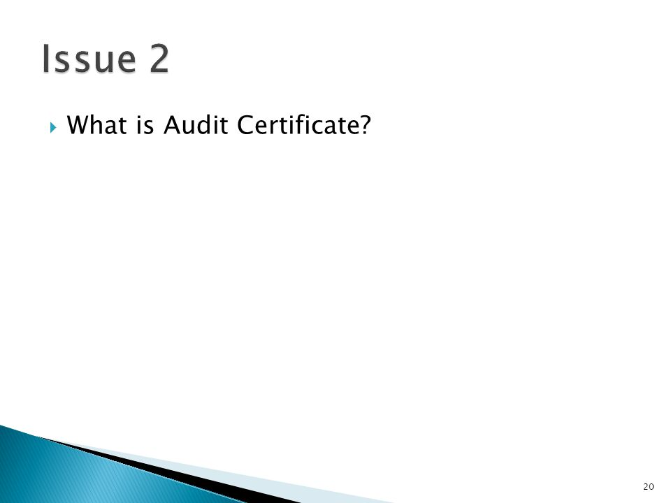  What is Audit Certificate 20