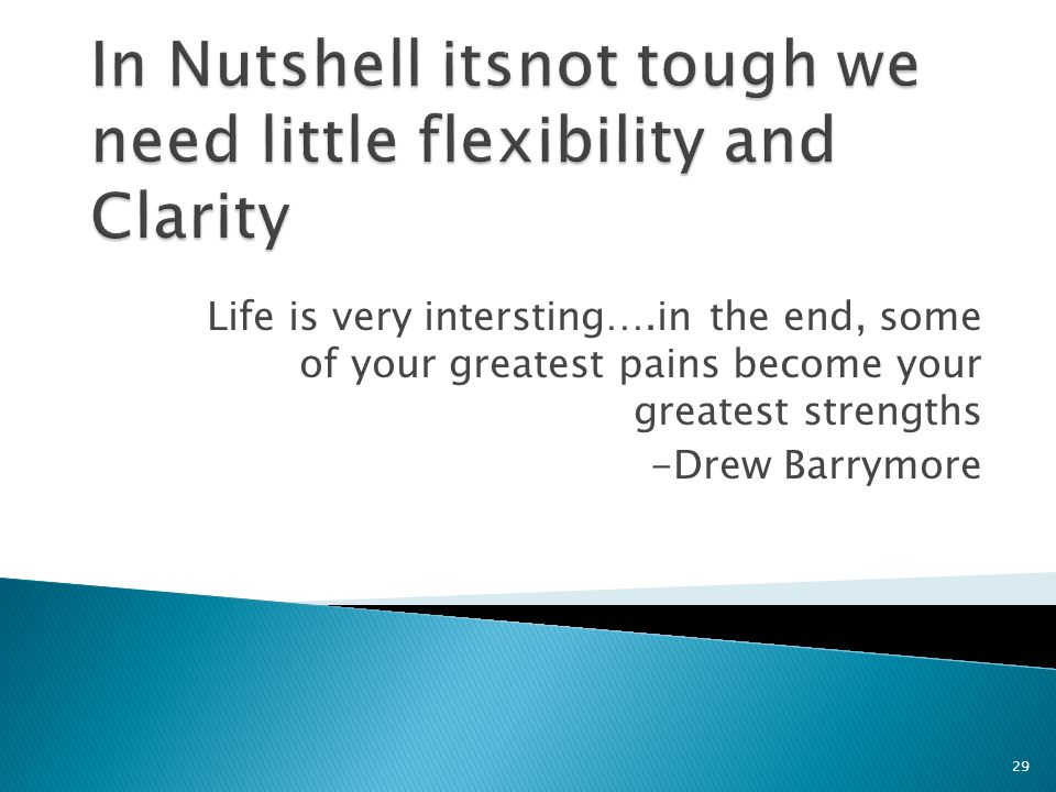 Life is very intersting….in the end, some of your greatest pains become your greatest strengths -Drew Barrymore 29