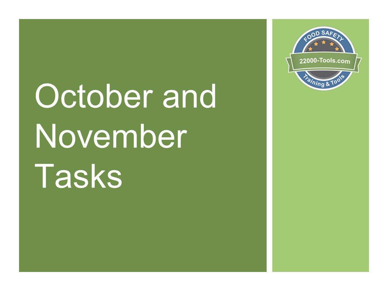 October and November Tasks