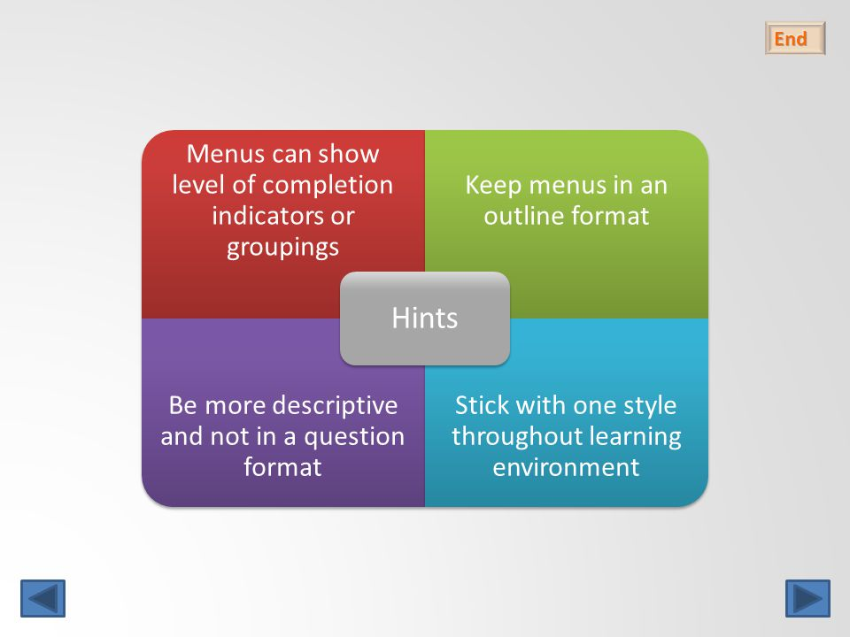 Menus can show level of completion indicators or groupings Keep menus in an outline format Be more descriptive and not in a question format Stick with one style throughout learning environment Hints