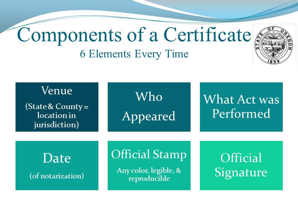 Components of a Certificate 6 Elements Every Time Venue (State & County = location in jurisdiction) Who Appeared What Act was Performed Date (of notarization) Official Stamp Any color, legible, & reproducible Official Signature