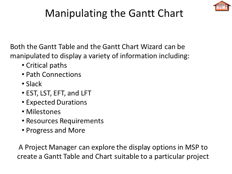 Manipulating the Gantt Chart Both the Gantt Table and the Gantt Chart Wizard can be manipulated to display a variety of information including: Critical paths Path Connections Slack EST, LST, EFT, and LFT Expected Durations Milestones Resources Requirements Progress and More A Project Manager can explore the display options in MSP to create a Gantt Table and Chart suitable to a particular project