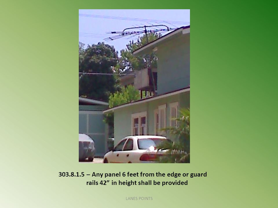 "303.8.1.5 – Any panel 6 feet from the edge or guard rails 42"" in height shall be provided LANES POINTS"