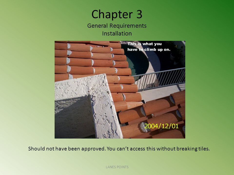 Chapter 3 General Requirements Installation LANES POINTS Should not have been approved. You can't access this without breaking tiles.