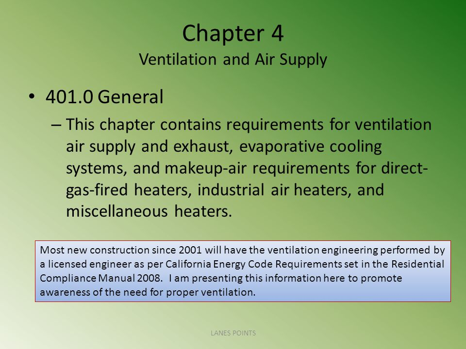 Chapter 4 Ventilation and Air Supply 401.0 General – This chapter contains requirements for ventilation air supply and exhaust, evaporative cooling sy