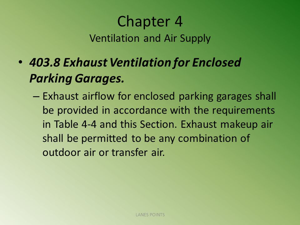 Chapter 4 Ventilation and Air Supply 403.8 Exhaust Ventilation for Enclosed Parking Garages. – Exhaust airflow for enclosed parking garages shall be p