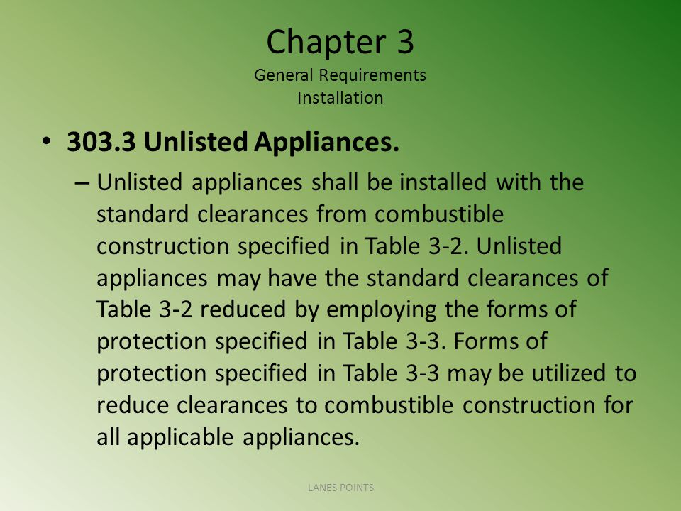 Chapter 3 General Requirements Installation 303.3 Unlisted Appliances. – Unlisted appliances shall be installed with the standard clearances from comb