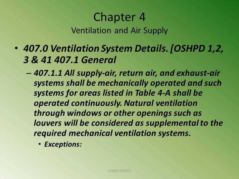 Chapter 4 Ventilation and Air Supply 407.0 Ventilation System Details. [OSHPD 1,2, 3 & 41 407.1 General – 407.1.1 All supply-air, return air, and exha