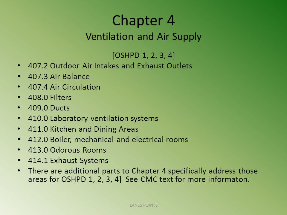 Chapter 4 Ventilation and Air Supply [OSHPD 1, 2, 3, 4] 407.2 Outdoor Air Intakes and Exhaust Outlets 407.3 Air Balance 407.4 Air Circulation 408.0 Fi