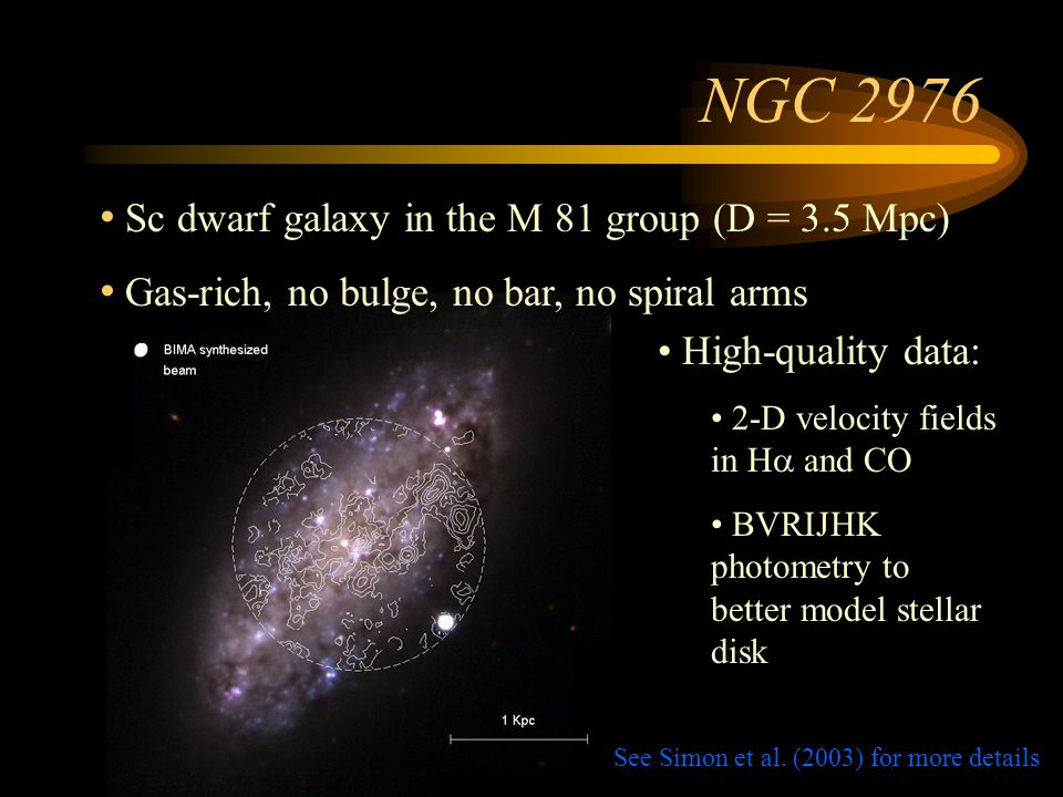 NGC 2976 Velocity Field HH CO Fit a tilted ring model: v obs = v sys + v rot cos  + v rad sin 