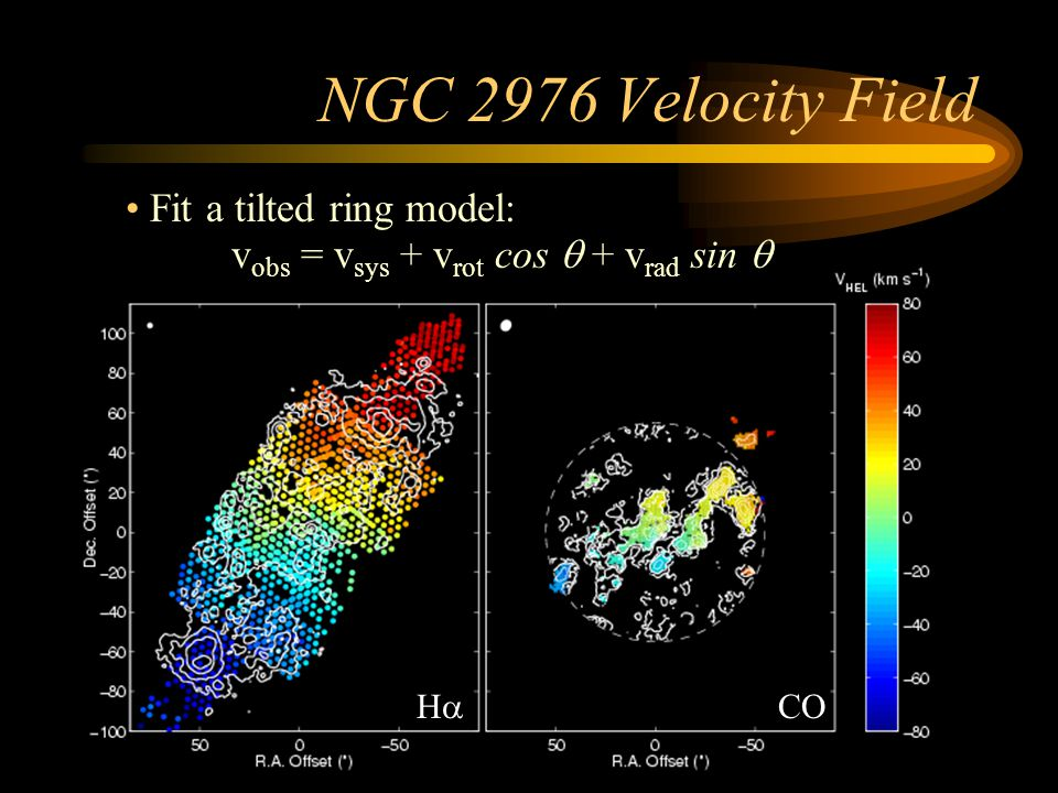NGC 2976 Rotation Curve Rotation velocity Derived from combined CO and H  velocity field