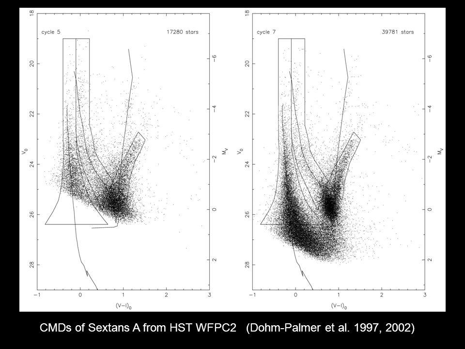 CMDs of Sextans A from HST WFPC2 (Dohm-Palmer et al. 1997, 2002)