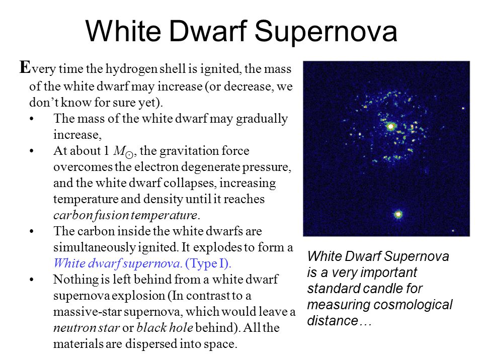 White Dwarf Supernova E very time the hydrogen shell is ignited, the mass of the white dwarf may increase (or decrease, we don't know for sure yet).