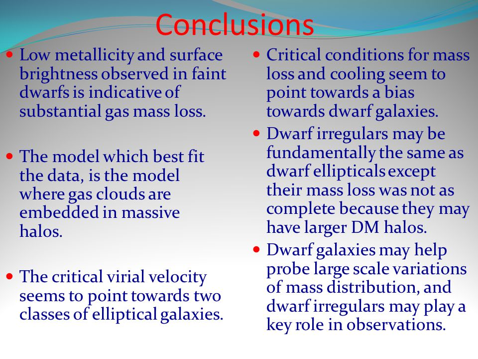 Conclusions Low metallicity and surface brightness observed in faint dwarfs is indicative of substantial gas mass loss.