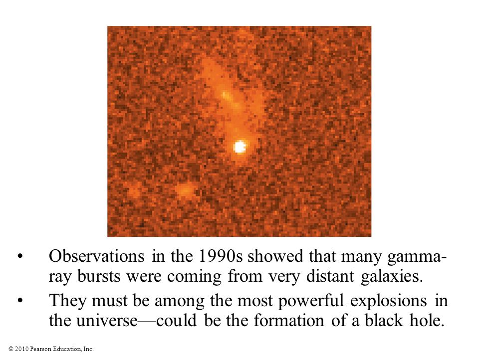 © 2010 Pearson Education, Inc. Observations in the 1990s showed that many gamma- ray bursts were coming from very distant galaxies. They must be among