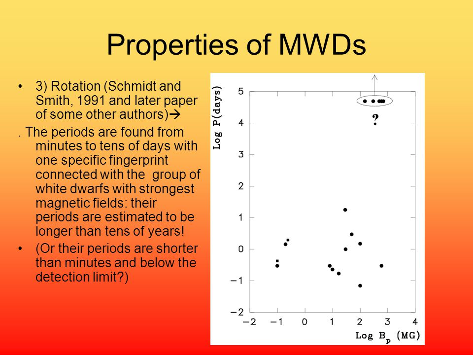 Properties of MWDs 3) Rotation (Schmidt and Smith, 1991 and later paper of some other authors) .