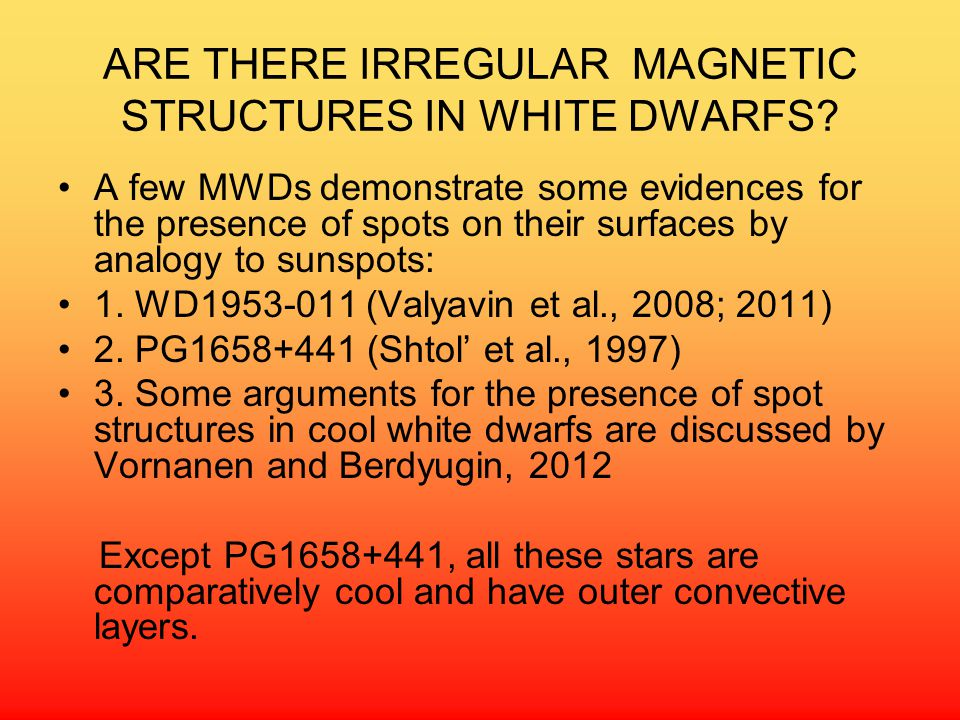 ARE THERE IRREGULAR MAGNETIC STRUCTURES IN WHITE DWARFS.