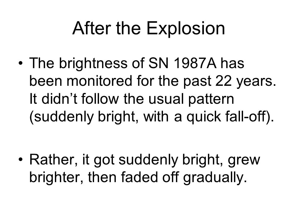 After the Explosion The brightness of SN 1987A has been monitored for the past 22 years.