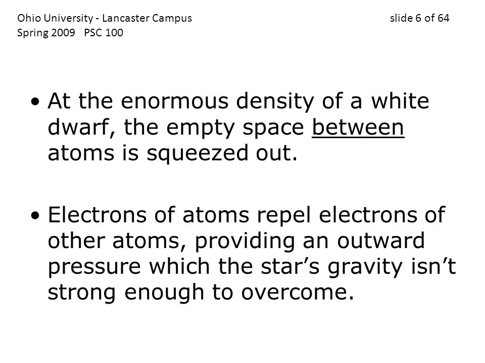 At the enormous density of a white dwarf, the empty space between atoms is squeezed out.