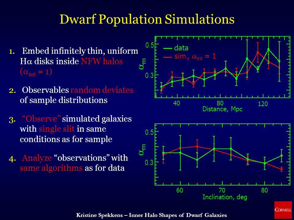 Kristine Spekkens – Inner Halo Shapes of Dwarf Galaxies Dwarf Population Simulations data sim.,  int = 1 mm mm 4080 120 0.3 0.5 0.3 0.5 Distance, Mpc 607080 Inclination, deg 1.
