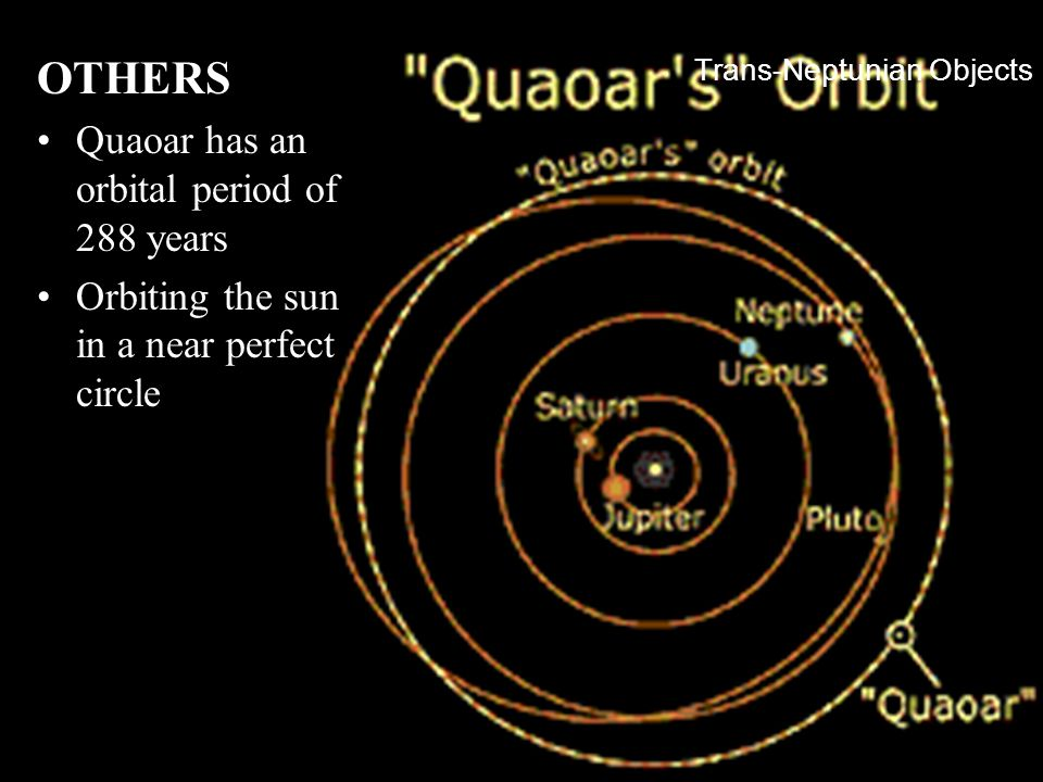 Trans-Neptunian Objects OTHERS Quaoar has an orbital period of 288 years Orbiting the sun in a near perfect circle