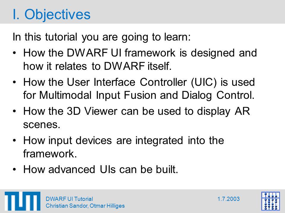1.7.2003DWARF UI Tutorial Christian Sandor, Otmar Hilliges I.