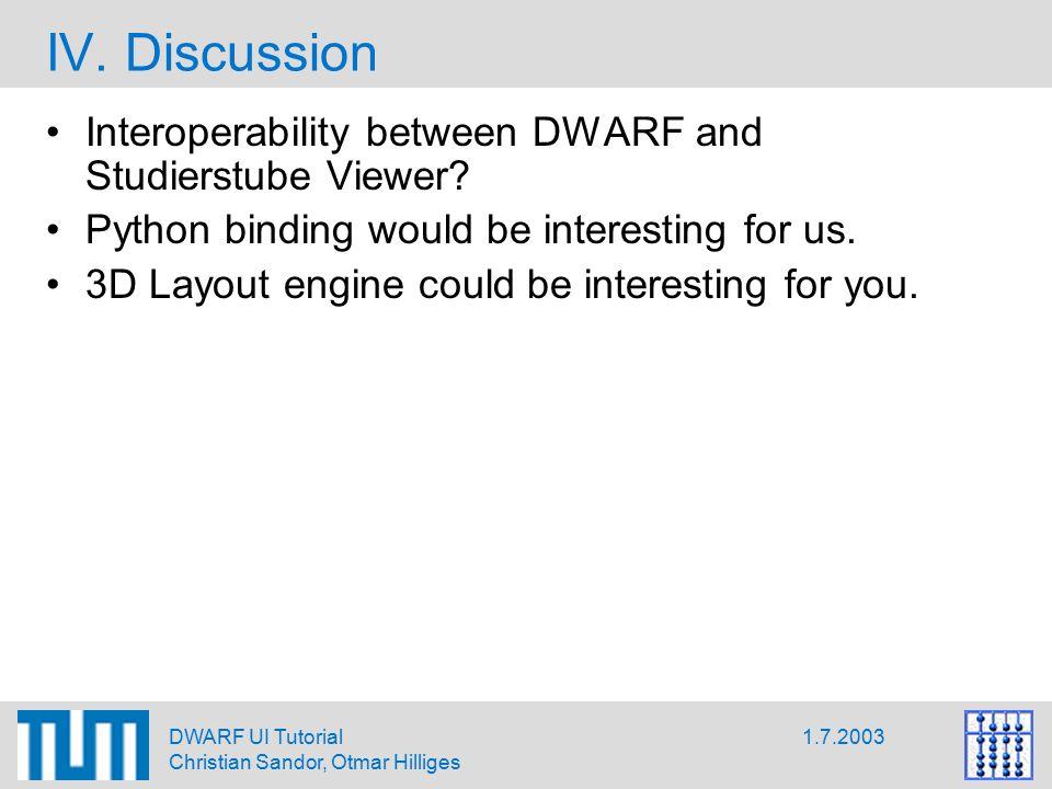 1.7.2003DWARF UI Tutorial Christian Sandor, Otmar Hilliges IV.