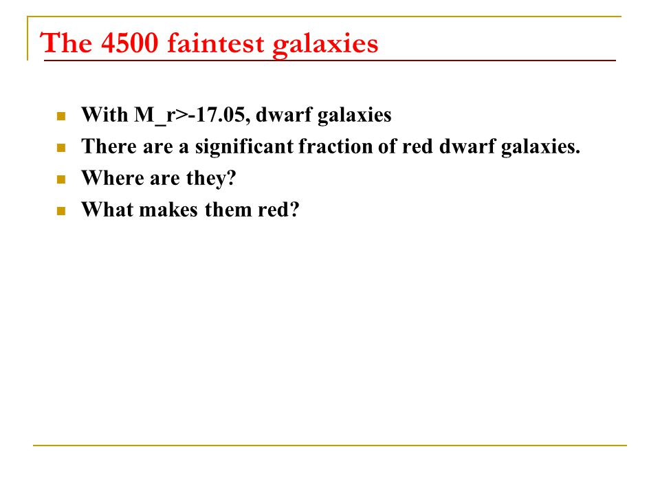The 4500 faintest galaxies With M_r>-17.05, dwarf galaxies There are a significant fraction of red dwarf galaxies.