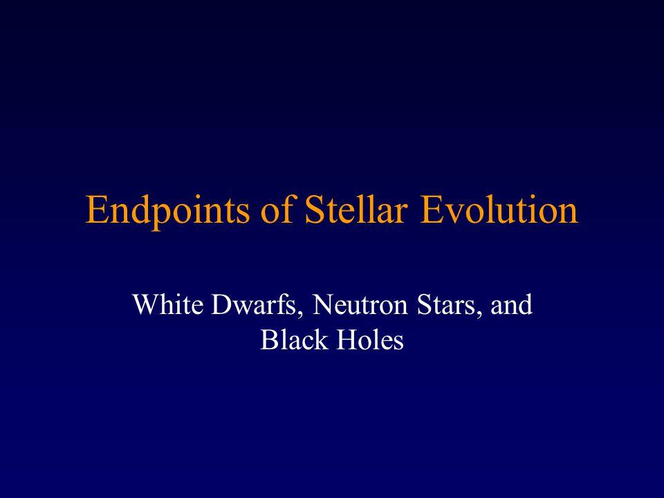 Endpoints of Stellar Evolution White Dwarfs, Neutron Stars, and Black Holes