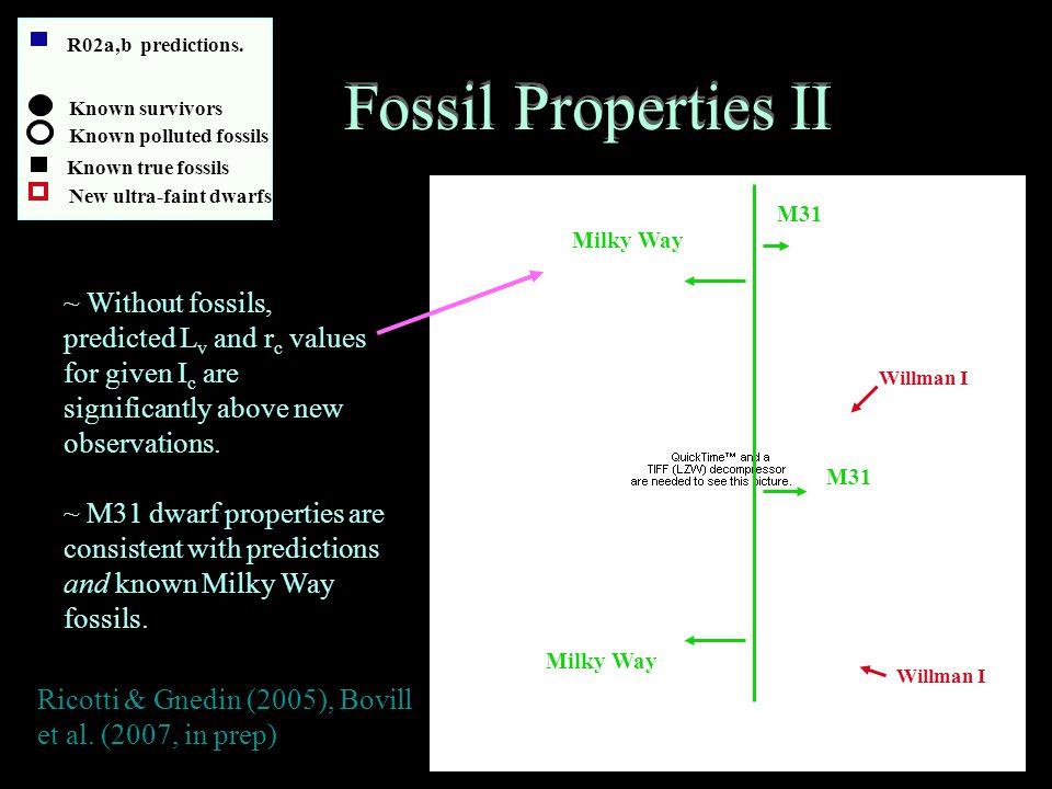 Fossil Properties II Ricotti & Gnedin (2005), Bovill et al.