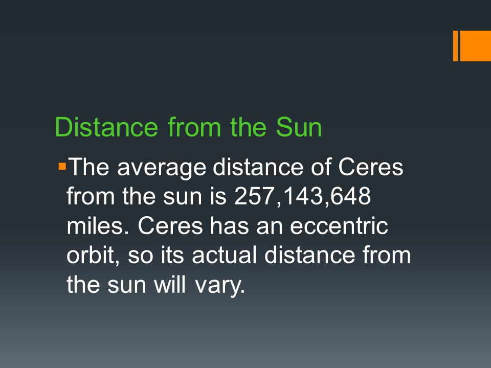 Distance from the Sun TThe average distance of Ceres from the sun is 257,143,648 miles.