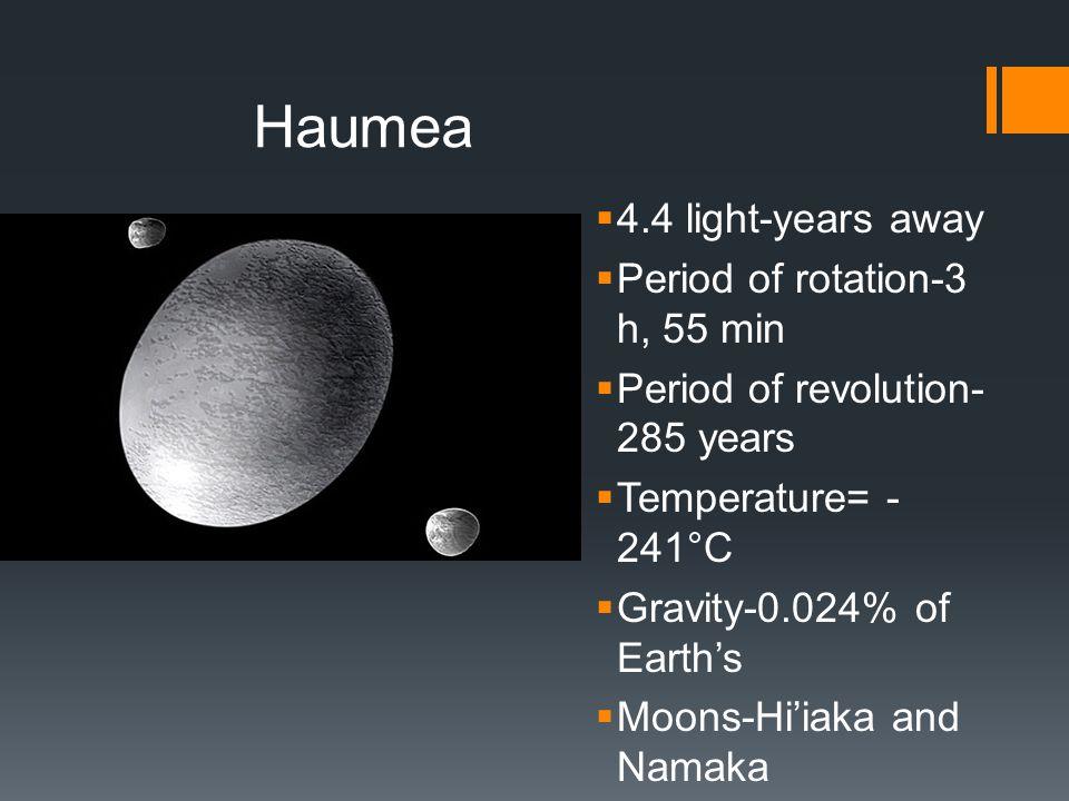 Haumea  4.4 light-years away  Period of rotation-3 h, 55 min  Period of revolution- 285 years  Temperature= - 241°C  Gravity-0.024% of Earth's  Moons-Hi'iaka and Namaka