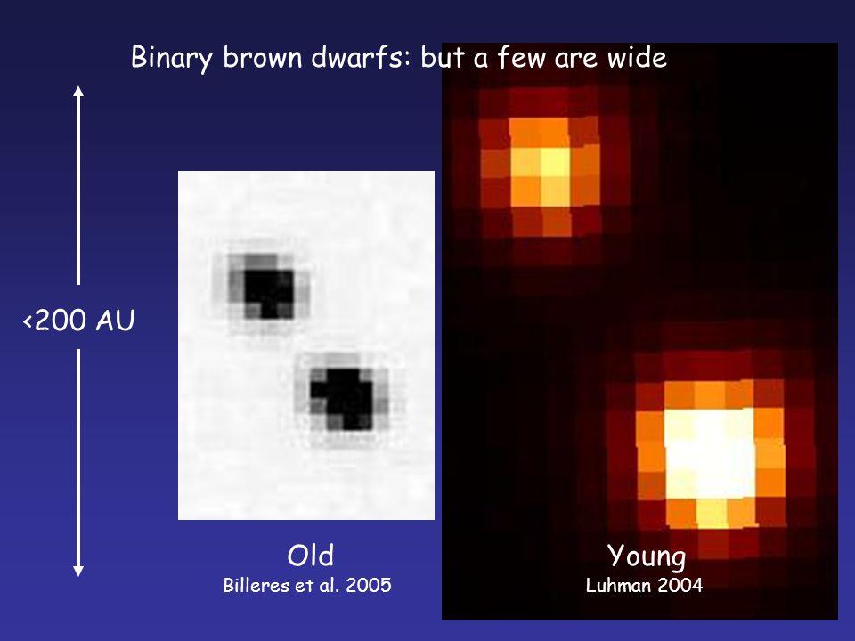 Binary brown dwarfs: but a few are wide Billeres et al. 2005Luhman 2004 <200 AU YoungOld