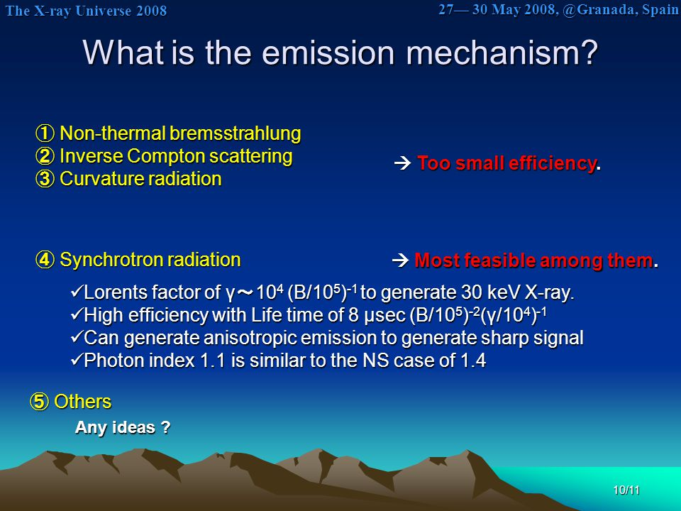 The X-ray Universe 2008 The X-ray Universe 2008 27— 30 May 2008, @Granada, Spain 10/11 What is the emission mechanism? ① Non-thermal bremsstrahlung ②