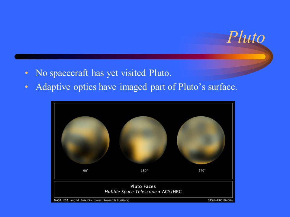 Ice Ball Pluto is small (seven moons are larger).Pluto has low density.