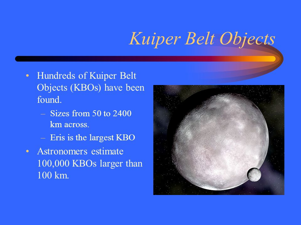 Kuiper Belt Objects Hundreds of Kuiper Belt Objects (KBOs) have been found. –Sizes from 50 to 2400 km across. –Eris is the largest KBO Astronomers est