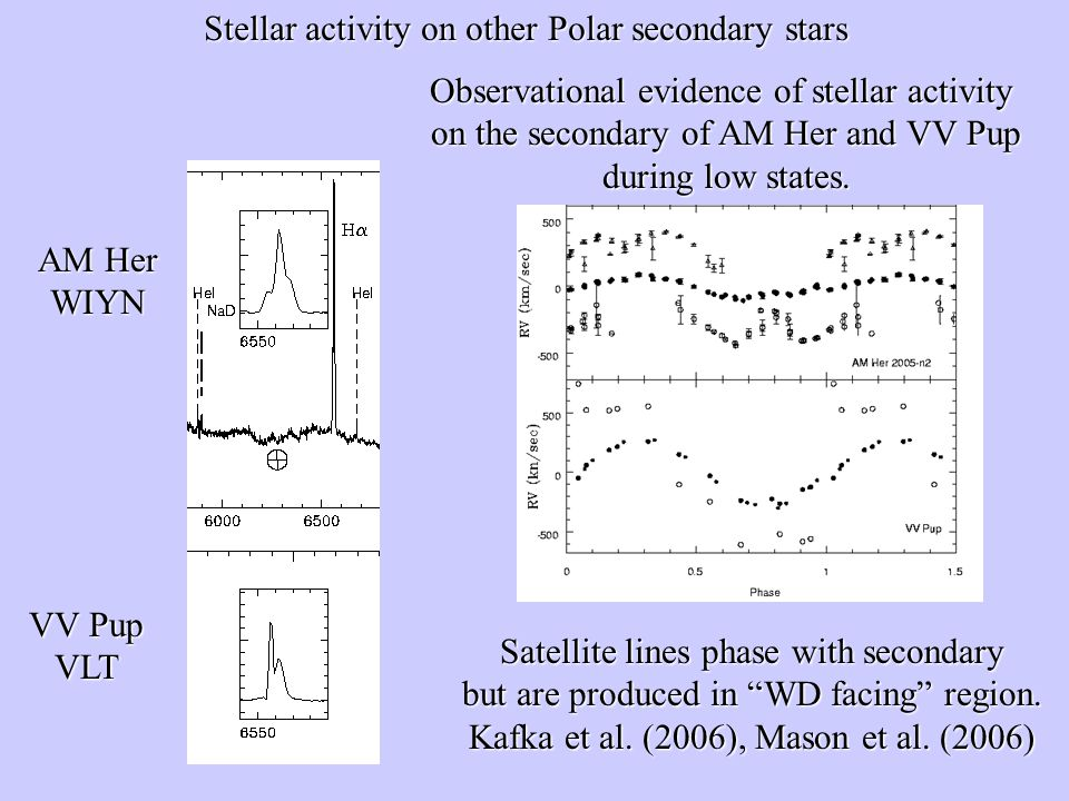 Stellar activity on other Polar secondary stars Observational evidence of stellar activity on the secondary of AM Her and VV Pup during low states.