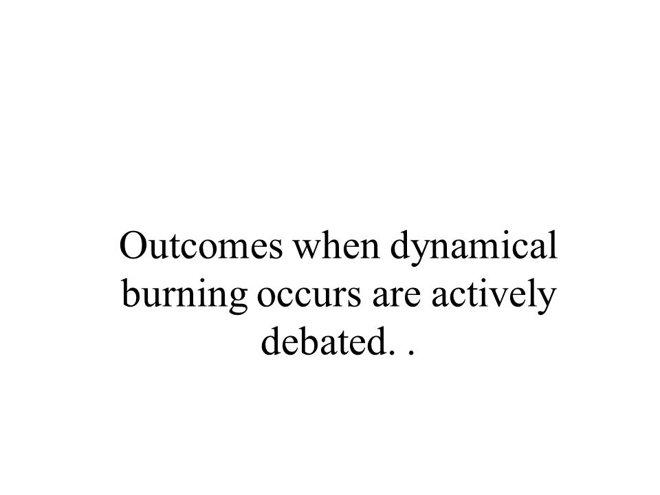 Outcomes when dynamical burning occurs are actively debated..