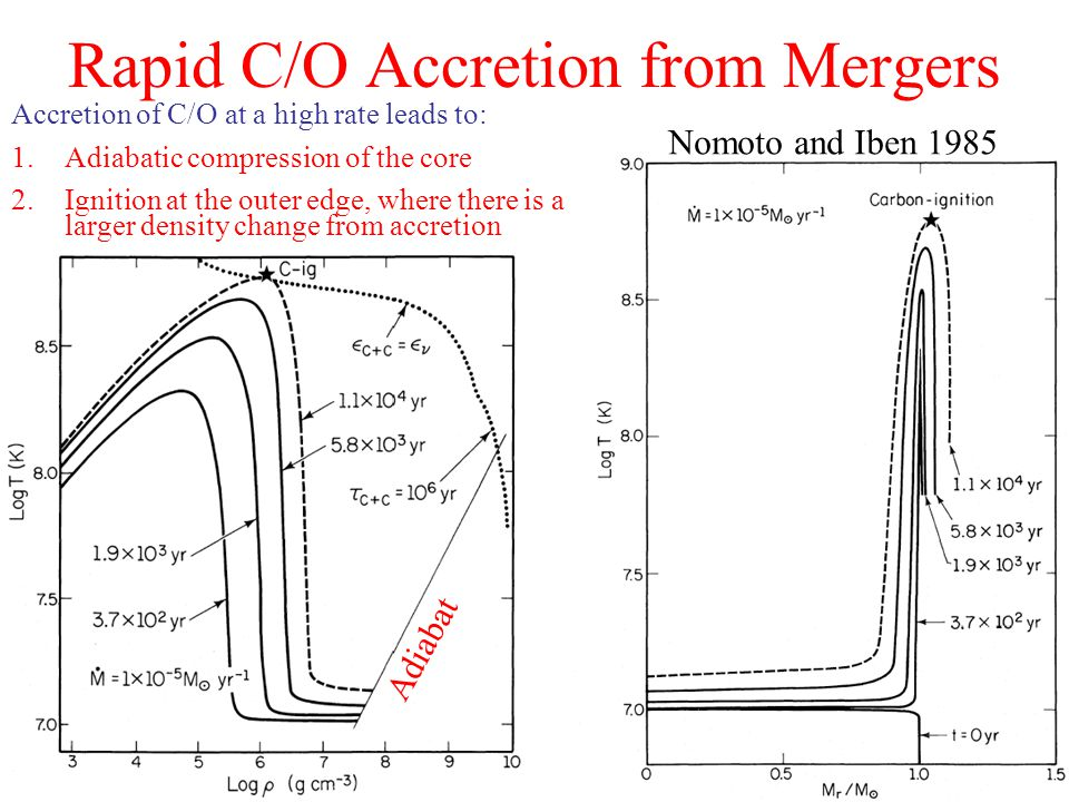 Accretion of C/O at a high rate leads to: 1.Adiabatic compression of the core 2.Ignition at the outer edge, where there is a larger density change from accretion Rapid C/O Accretion from Mergers Nomoto and Iben 1985 Adiabat