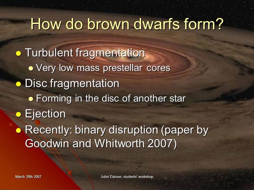 March 28th 2007Juliet Datson, students workshop How do brown dwarfs form.