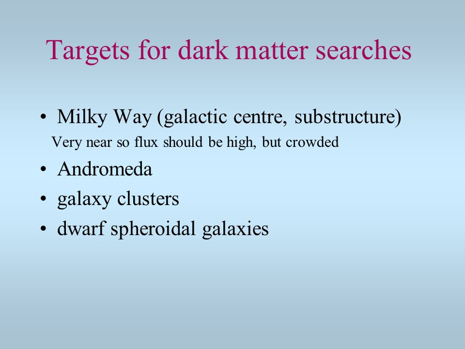 Targets for dark matter searches Milky Way (galactic centre, substructure) Very near so flux should be high, but crowded Andromeda galaxy clusters dwarf spheroidal galaxies