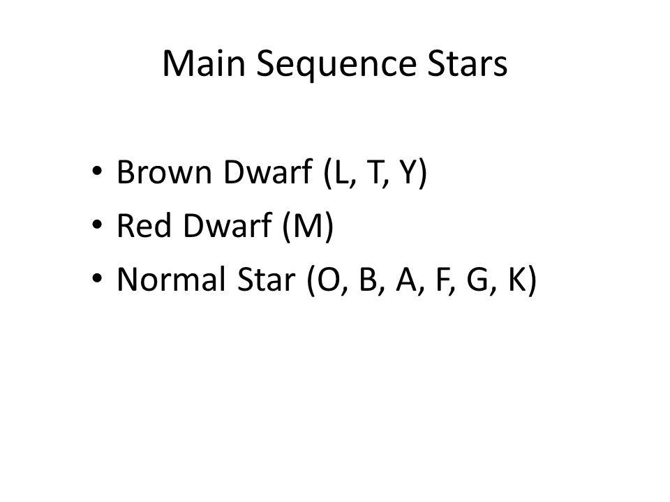 Main Sequence Stars Brown Dwarf (L, T, Y) Red Dwarf (M) Normal Star (O, B, A, F, G, K)