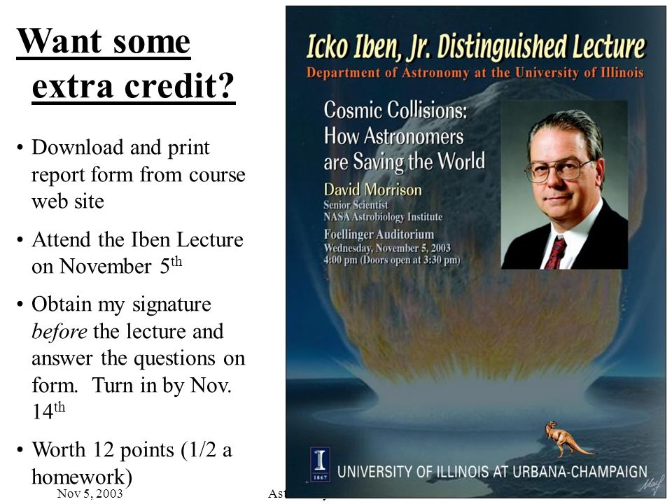 Nov 5, 2003Astronomy 100 Fall 2003 Want some extra credit.