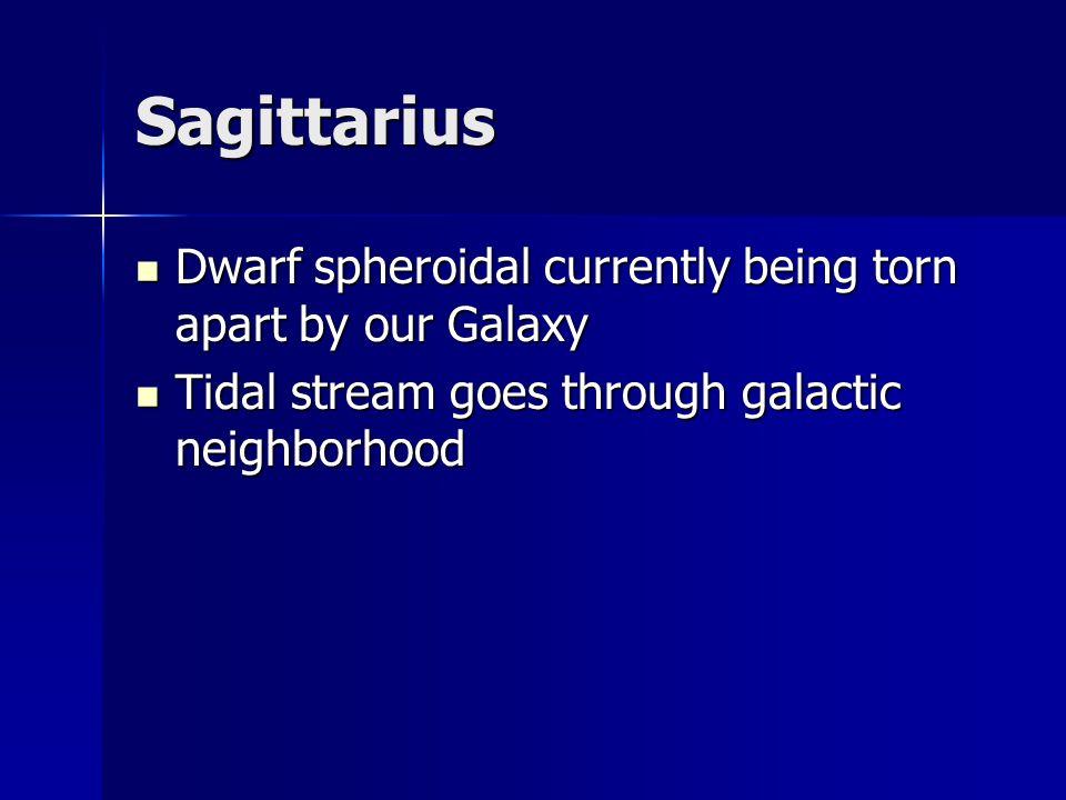 Sagittarius Dwarf spheroidal currently being torn apart by our Galaxy Dwarf spheroidal currently being torn apart by our Galaxy Tidal stream goes thro