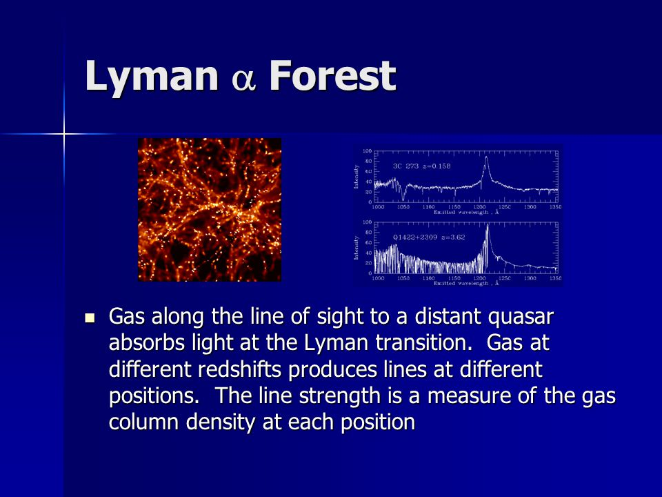 Lyman  Forest Gas along the line of sight to a distant quasar absorbs light at the Lyman transition.